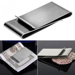 Ze Stali nierdzewnej Srebrny Kolor Slim Pieniądze Klip Kiesy Portfel Karty Kredytowej ID Holder 9R3F