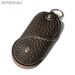 XZXBBAG Genuine Leather Car Key Portfele Gosposia Key Holder Organizator Mężczyzn Mężczyzna Brelok Pokrowce XB159 Hasp Klucz Cas