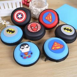 Kobiety Torebka Coin Silikonowe Cartoon Superman Spiderman Okrągłe Słuchawki Torba Samll Zmień Purse Portfel Pouch Bag Dla Dziec