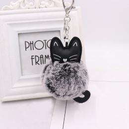 Puszystego Kota Torebki pomponem Akcesoria Faux Rabbit Fur Kobiety Torba Wisząca Akcesoria Mody Plecak