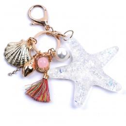 Nowy Cartoon Sea World Starfish Pearl Shell Torba Łańcucha Kluczy Brelok Kryształ Wisiorek Kobiety Bag Torba Ornament Akcesoria