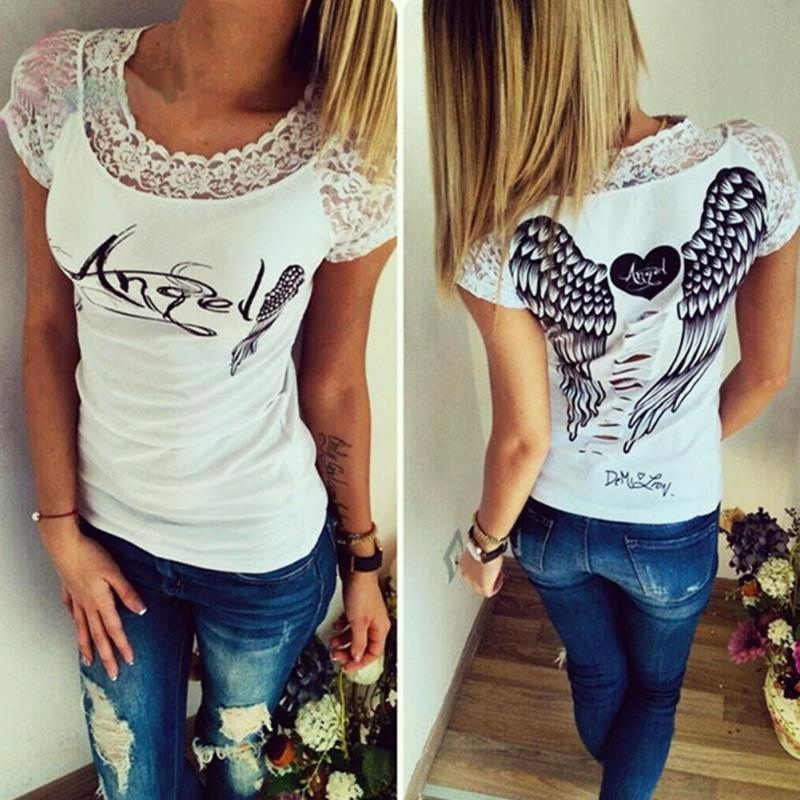 S XXL Lato Moda damska T shirt Powrót Hollow Angel Wings T