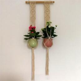 AsyPets Handmade Weave Liny Rośliny Wieszak Kryty Odkryty Wiszące Sadzarka Doniczka Holder-10