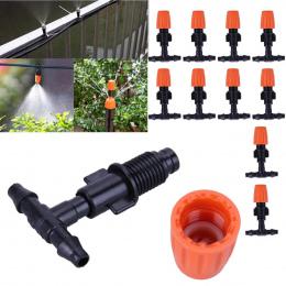 50 sztuk 3/5mm Wąż Ogrodowy Zraszacz T Kształt Trzy Hole Micro Kroplującej Kolczasty Złącze Ogród system nawadniania