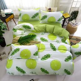 Zielony lemon Zima Pościel Ustawia Pełna King Twin Królowej King Size 4 sztuk Prześcieradło Kołdra Pokrywa Zestaw Poszewka Bez p