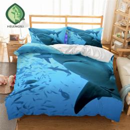 HELENGILI 3D Pościel zestaw Shark Drukuj Kołdra pokrywa zestaw realistyczne pościel z poszewki łóżko zestaw Tekstylia domowe #2-
