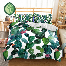 HELENGILI 3D Pościel Zestaw Kaktus Drukuj Kołdra pokrywa zestaw realistyczne pościel z poszewki łóżko zestaw Tekstylia domowe #2