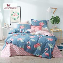 SlowDream Różowy Flamingi Pościel Zestaw Niebieski Euro Narzuta Luksusowe Kołdrę Okładka Podwójne Pościel Pościel Królowa Król D