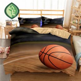 HELENGILI 3D Pościel Ustawić Koszykówki Drukuj Kołdra pokrywa zestaw realistyczne pościel z poszewki łóżko zestaw Tekstylia domo
