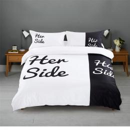 Black & white Jej Boku Jego Boku zestawy Pościeli Queen/King Size łóżko małżeńskie 2/3 sztuk/4 sztuk Pościel Pary Ochraniacz Zes