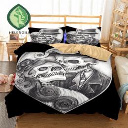HELENGILI 3D Pościel Zestaw czaszka Drukuj Kołdra pokrywa zestaw realistyczne pościel z poszewki łóżko zestaw Tekstylia domowe #