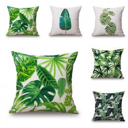 Nowy Zielony Tropikalnych Roślin Drzewa Liści Pokrywa Poduszki Świeże Rzut Poszewka na poduszkę Home Hotel Użytkowania