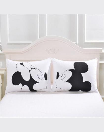 Mickey Mouse Minnie Pan Pani Poszewki Na Poduszki Tekstylia Domowe 2 Sztuk Biały Para Pokrywa Poduszki Dekoracyjne Poduszki Case