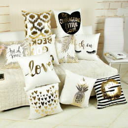 Bling Cekiny Brązujący Poszewka Poduszki Skrzynki Pokrywa Pillow Art Paskiem Usta Rzęs Czarny White Gold Sypialni Domu Dekoracyj