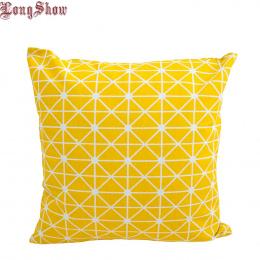 1 sztuk 45 cm Plac Home Dekoracyjne Żółty Geometria Bawełniana Pościel Poszewka na Poduszkę Pokrywa Poduszki