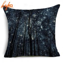 Hyha Starry Las Poliester Poduszka Skrzynki Pokrywa Obraz Olejny Starry Night Księżyc Home Poduszka Przypadki Zwierząt Streszcze
