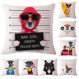 Moda Cute Dog Cotton Linen Użytkowa Poszewka na Poduszkę Krzesło Talia Seat Kwadratowy 45x45 cm Poduszka Pokrywa Domu Ogród teks