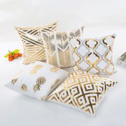 Złoty Brązujący Poduszka Przypadki Luksusowych Geometrycznej Ananas Bawełniana Poszewka na Poduszkę Biała Sypialnia Home Office
