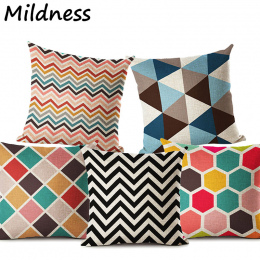 Kolorowe Geometryczne Stripe Wydrukowano Bawełniana Pościel Poszewka na Poduszkę Dekoracyjne Office Home Rzuć Pillow Pokrywy Alm