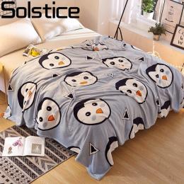 Przesilenie Flanela Koral Koc dziecko kreskówka penguin style chłopiec Dzieci łóżko koc prześcieradło Podróży Przenośne Koc