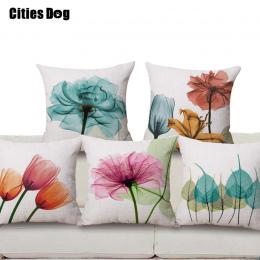 Dekoracyjne poduszki poduszki pościel nowy nowoczesny minimalistyczny tulipan kwiaty wzór druku atrament 45x45 rzut poduszki Pod