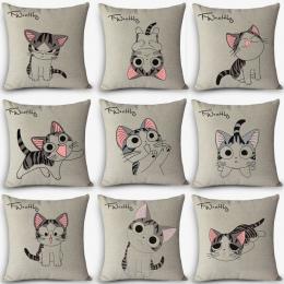 Gorąca sprzedaż 12 rodzajów poduszki słodkie kot Drukuj Home Dekoracyjne Poduszki Rzut Poduszka Vintage Bawełniana Pościel Plac