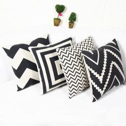 Europejski styl niestandardowy bawełniana pościel mieszane dekoracyjne rzut poduszki Nordic przepisy czarny i biały geometryczny