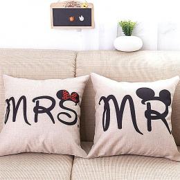 2 sztuk/zestaw Nowoczesny minimalistyczny zwyczaj ślubny pościel poduszka pokrywa z list miłośników MRSMR rzut poszewka proste i