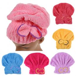 6 kolory Mikrofibra Jednolity Szybko Suche Włosy Kapelusz Włosy Turban Kobiety Dziewczęta Panie Cap Kąpielowy Ręcznik Suszenia O