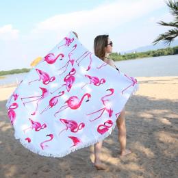 XC USHIO 2019 Najnowszy Styl Moda Flamingo 450g Okrągły Ręcznik Plażowy Z Frędzlami Z Mikrofibry 150 cm Piknik Koc Mat gobelin