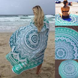 Sunbath Okrągłe Ręczniki Plażowe Czeski Styl Wydruku Ball Tassel Koc Mata Do Jogi Kobiet Opalania Sukienka Ręcznik kąpielowy