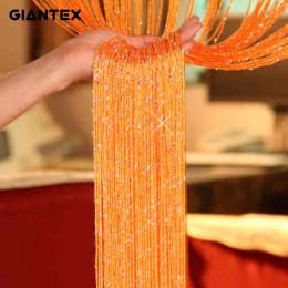 GIANTEX Błyszczące Pomponem Flash Srebrny Linia String Zasłony Okna Drzwi Dzielnik Sheer Curtain Valance Dekoracji Domu 0.95x1.9