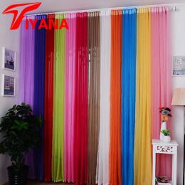 Hot Sprzedaż Rainbow Stałe Woal Drzwi Okna Zasłony Zasłona Panelowa Sheer Tulle Dla Wystrój Domu Salon Sypialnia Kuchnia P184Z15