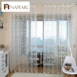 Amerykański styl NAPEARL żakardowe floral design okna zasłony sheer dla sypialni tiul tkanina salon nowoczesny gotowe krótkie