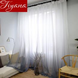 Zasłony Kolor Gradientu Druku Woal Szary Okno Nowoczesny Salon Zasłony Tulle Sheer Tkaniny Rideaux Cortinas T & 185 #30