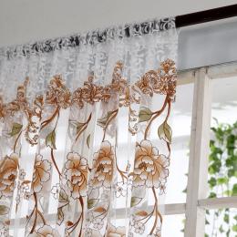 Biuro w domu Zasłony Okna Kwiat Wydruku Dzielnik Zasłona Panelowa Sheer Tulle Voile Szalik Zasłony Lambrekiny