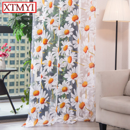 Nowoczesne tulle zasłony do salonu sypialni zasłony kuchenne żółty floral Leczenia Okna Panelu Kurtyny Serwet