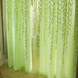 Śliczne Willow liści Wierzby Tulle Rolety Zasłony Woal Styl Duszpasterski Kwiatowy Okna Dekoracyjne cortinas dla sypialnia Salon