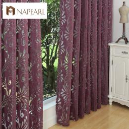 Gotowe semi-panel niewidomych tkaniny blackout zasłony okienne fioletowy leczenia okna zasłony salon fioletowy czarny biały