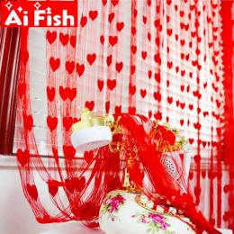 Gotowe String Zasłony W1m * H2m Kształt Serca Tulle Zasłony Do Salonu Drzwi Partycji Ściany Przedsionek Kurtyny AP240-40