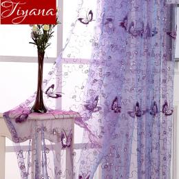 Francuski Romantyczny Shining Motyl Haftowane Woal Zasłony Okno Panelu Tekstylia Domowe Sypialnia Zasłony Tulle Cortinas T & 344