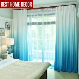 Gradient kolor okna zasłony do salonu sypialnia kuchnia tulle zasłony i stawki cieniowania blackout zasłony okna 75%