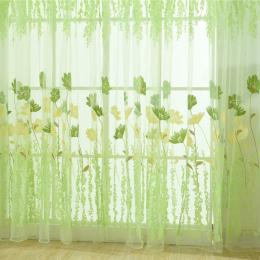 Floral Okna Zasłony Sheer Voile Tulle dla Sypialnia Salon Balkon Kuchnia Drukowane Tulip Wzór Zasłony cieniowania słońcem