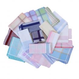 10 sztuk Striped Plaid Chusteczka Bawełna Drukarnie Hanky męska Biznes Plac Kieszonkowy Ręcznik 29*29 cm Ślubne Hankies