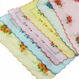 12 Sztuk Dużo Kobiet Pani Dziecko 100% Bawełna Kwiat Chusteczki Czworoboczny Hankies Hurtownie Przydatne