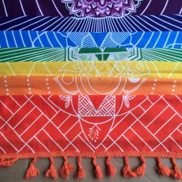 Lepsza Jakość Wykonane Z Bawełny Czechy Indie Mandala Gobelin Plaża Rzut Koc 7 Chakra Rainbow Stripes Ręcznik Mata Do Jogi