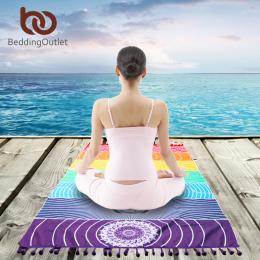 Rainbow Stripes BeddingOutlet 7 Chakra Mandala Koc Z Mikrofibry Ręcznik Plażowy Dla Dorosłych Prostokąt Czeski Gobelin Mata Do J