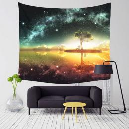 Monily Poliester Starry Piękna Scena Nocy Wzór Gobelin Tropikalne Drzewa Living Room Decor Wall Hanging Jogi Ręcznik Plażowy