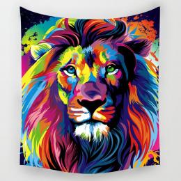 Comwarm Afryki Zwierzęta Wzór Kolorowe Lion Howling Wolf Poliester Gobelin Ściany Wiszące Plaża Piknik Jogi Dywan Living Room De