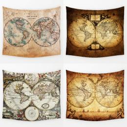 Comwarm Rocznika Średniowiecza Mapa Świata Serii Wzór Ścianie Wisi Renaissance Drukowane Ścienne Gobelin Ciepłe Room Decor Art T